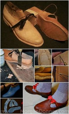 16th century latchet shoe walkthrough! Made on wooden lasts, with a simple heel.