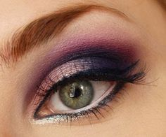 Purple eye shawdow...a great way to bring out your green eyes!