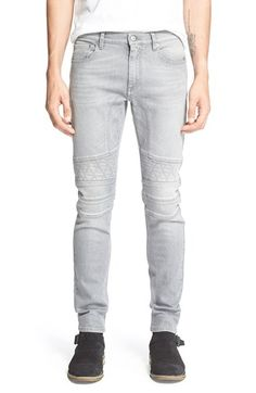 Belstaff 'Edwin' Slim Fit Moto Jeans (Steel Grey) available at #Nordstrom