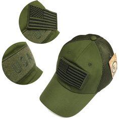 Military Army Green USA Flag Patch Mesh Baseball Hat Cap Adjustable f7cc1f2c579