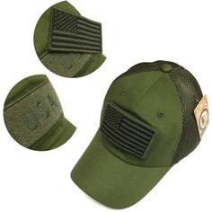 1c519ea4e6a Military Army Green USA Flag Patch Mesh Baseball Hat Cap Adjustable