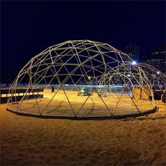 thought to stroll a bit on Oak Street beach  as walking on a  sand with lake waves make me feel good :) I don know whats official name for these canopies  but Ill call this summer  igloo  looking good there :) #SummerIgloo #SummerNight #Warm #Evening #OatStreetBeach #WarmSand #LakeMichigan #PrettyEvening #September2016 #Summer2016 #HappyMonday