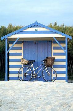 Cabana shed in french blue and white stripes - heaven! Playa Beach, Beach Cabana, Miami Beach, Foto Transfer, Beach Shack, Beach Cottages, Coastal Living, Beach House, Summertime