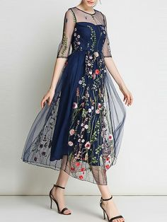 Take a look at this Coeur de Vague Navy Sheer Floral Embroidered Midi Dress today! Dress Brukat, Kebaya Dress, Batik Dress, Sheer Dress, Dress Outfits, Lace Dress, Casual Dresses, Fashion Dresses, Formal Dresses
