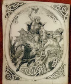 Scrimshaw on a mammuth ivory plate. The motife is the Viking-god ...