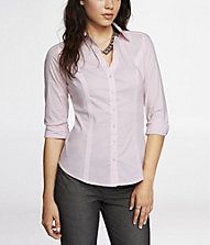 THE ORIGINAL LONG SLEEVE ESSENTIAL SHIRT from Express is tailored and feminine.  Can be worn alone or under a blazer. #businesscasual