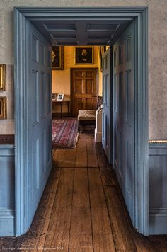 Painted Panelling in subdued period colours at #CoughtonCourt #warwickshire #nationaltrust