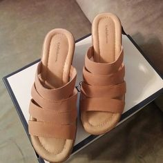 Sandals Tan, 2 1/2 in heel, worn twice, memory foam bed. Croft & Barrow Shoes Heels