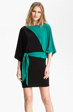 Teal is the color of ovarian cancer awareness. Why not deck yourself out in this teal and black colorblock dress?
