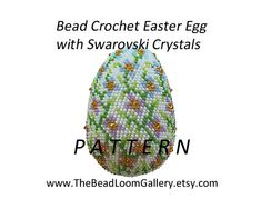 Crochet Seed Beaded Easter Egg with Swarovski Crystals - PDF File    Sold in digital format as a download including:  1. Color images  2. Bead
