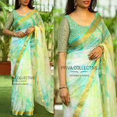Organza Saree, Georgette Fabric, Fancy Sarees, Party Wear Sarees, Simple Sarees, Green Blouse, Designer Sarees, Churidar, Indian Designer Wear