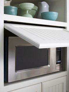 Move the Microwave Behind Closed Doors.