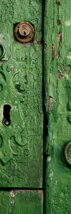 .green door- great color & crackled paint .