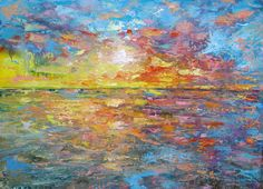Sunset Sea landscape,  Original painting on canvas ans prints Beach, Sea, Sun, Clouds, Baltic Coast, marina