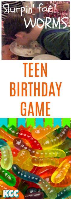 Birthday Games for Kids: Easy Fun Teen Birthday Party Game Worms Birthday Party Games For Kids, Birthday Cakes For Teens, Birthday Activities, 13th Birthday Parties, Halloween Party Games, Party Activities, Birthday Wishes, Birthday Crafts, Cake Birthday