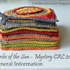 Circles of the Sun Mystery CAL - Free crochet pattern LillaBjörn's Crochet World Crochet Square Pattern, Crochet Squares, Crochet Granny, Crochet Motif, Crochet Designs, Double Crochet, Crochet Stitches, Crochet Hooks, Free Crochet
