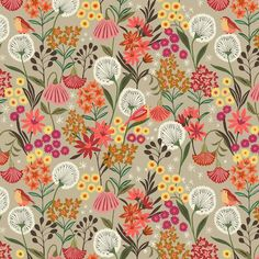 **BOLT END MEASURING Suffolk Garden is first collection by Brie Harrison for Dashwood Studios. The collection was inspired by her mother's Suffolk Garden and features modern floral prints in a brown, orange, lemon, coral and duck egg colour Deco Floral, Motif Floral, Floral Prints, Pretty Patterns, Beautiful Patterns, Textile Prints, Textile Patterns, Lino Prints, Block Prints