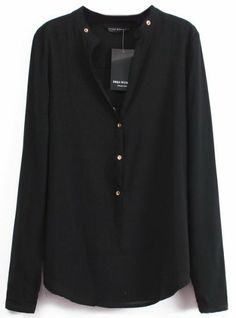 Black V Neck Long Sleeve Buttons Blouse pictures