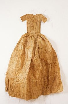 """Lesley Dill ~ Poem Hair Dress (1993) Rice paper, horse hair, tea; 40 x 29 x 7 in """"…Emily Dickinson is her """"touchstone,"""" but the words of Pabloe Neruda, Salvador Espriu and Franz Kafka are interwoven throughout."""" ~ from Vision, Touch, Voice essay"""