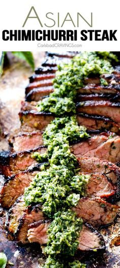 Grilled Asian Steak with Chimichurri - this marinade is hands down the best steak marinade I have ever tried - SO flavorful for a crazy juicy, tender, amazing steak!