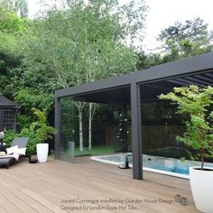 Renson joined Camargue with Glass Sliding Doors designed with our partner London Essex Hot Tubs Outdoor Spa, Canopy Outdoor, Outdoor Rooms, Sliding Door Design, Sliding Glass Door, Sliding Doors, Landscape Design, Garden Design, House Design