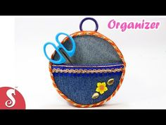 DIY Organizer from Old Jeans & Waste CDs | Best out of Waste | Sonali's Creations #79 - YouTube