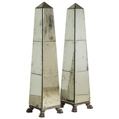 Pair of Antique Mirror and Silvergilt Floor Standing Obelisks | From a unique collection of antique and modern obelisks at https://www.1stdibs.com/furniture/more-furniture-collectibles/obelisks/