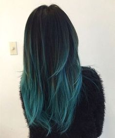 Black to teal green & blue ombre hair color with highlight