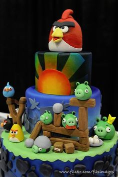 tarta Angry Birds decoración fiesta evento infantil cumpleaños y comunión - kids children cake birthday communion party decoration miraquechulo