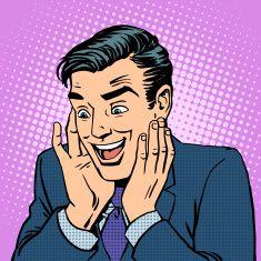 Homme réaction joie des émotions face vector art illustration