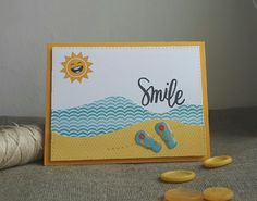 June card kit, Happy and Smile stamp set, stitched rectangles and stitched slopes dies #SSSFAVE