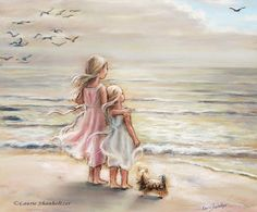Girls sisters art print beach