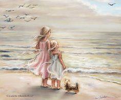 Girls sisters art print beach seagirls art by LaurieShanholtzer, 18.00