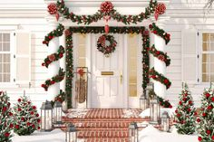Get inspiration for dressing your home up for the holidays with these outdoor Christmas decoration ideas and tips. Outside Christmas Decorations, Christmas Lights Outside, Christmas Backdrops, Christmas House Lights, Merry Christmas, Christmas Snowflakes, Christmas Home, Christmas Wreaths, Outdoor Christmas Garland