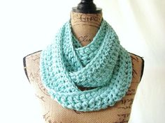 Ready To Ship Ocean Mint Cowl Scarf Fall by SouthernStitchesCo, $22.00