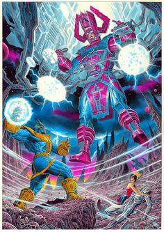 Galactus & Silver Surfer vs Thanos!