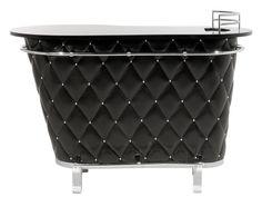 KARE Design Rockstar Bar Black aus lackiertem MDF, mit Acrylknöpfen, PU-Schaum, verchromtem Stahlrohr und einem Bezug aus Polyestersamt in schwarz.