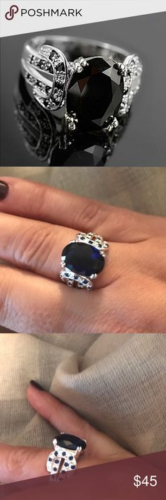 Sterling Silver Blue Sapphire Ring 925 sterling silver with blue sapphire gemstone- ELEGANT And sophisticated this gorgeous ring promises a carefree and comfortable wear. Its design is meant to accentuate the fingers beautifully. Jewelry Rings