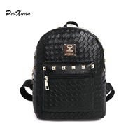 2016 fashion Genuine PU Leather Women Backpack with Knitting Rivet Korean Style Rucksack sports Teenager Girl Hand-made Bags