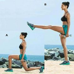 Lunge Kick  WORKS: BUTT, LEGS, AND CORE    Stand holding a dumbbell in your left hand, then lunge back with left leg until right thigh is parallel to the ground [A].    Rise up as you kick left leg out to hip height in front of you [B]. Step back to starting position. Do 15 reps, then switch sides to complete set. Do 2 sets.