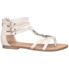 maurices Dory Metallic Disc Gladiator Sandal In Off White ($17) ❤ liked on Polyvore featuring shoes, sandals, sapatos, white, adjustable strap sandals, gladiator sandal, strap sandals, floral sandals and white strappy sandals
