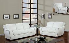 U8080 Global Furniture USA White Sofa and Loveseat