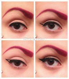 Simple winged eyeliner tutorial. Thanks Pinkandinked from reddit!