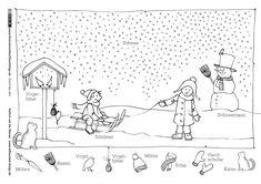 Durch das Jahr – Winter Schlitten Schneemann – van der Merwe Through the year – winter sleigh snowman – van der Merwe Free Printable Coloring Pages, Coloring Pages For Kids, Illustrator, Bee Do, Hidden Pictures, Activity Sheets, Winter Kids, German Language, Sled