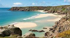 Pedn Vounder Beach, Cornwall. Golden sands and clear blue water