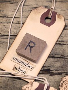 Scrabble Tile Gift Tag...this would be neat for a class reunion. Add a fun fact/trivia from graduation year on the back.  Scatter on tables as conversation starters, and memento to take home.