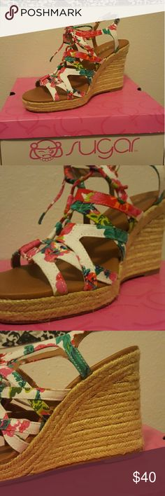 White floral wedges! White floral sandal wedges by sugar! Honeydew white. Only worn once! In great condition, comes with box. will bundle  (: sugar Shoes Wedges