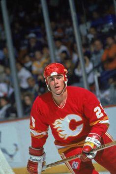 Canadian professional hockey player Joe Nieuwendyk of the Calgary Flames on the ice during an away game 198889 Season