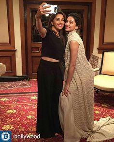 Madhuri Dixit clicks a selfie with Deepika Padukone. Wish to see them together in a Sanjay Leela Bhansali movie one day @Bollywood ❤❤❤ . . . . .
