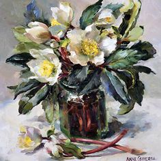 White Hellebores | Mill House Fine Art – Publishers of Anne Cotterill Flower Art